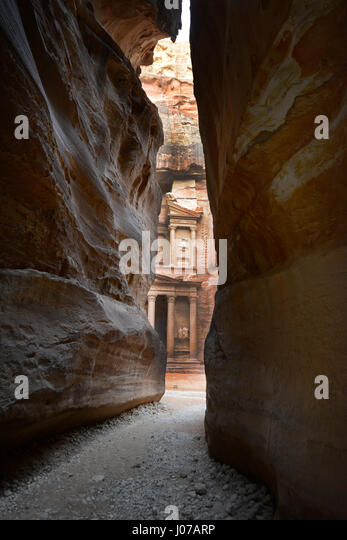 The Treasury as seen from the Siq in Petra, Jordan. - Stock Image