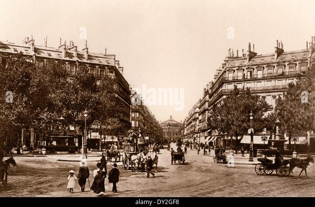 Avenue de L'Opera, Paris, circa 1900. - Stock-Bilder