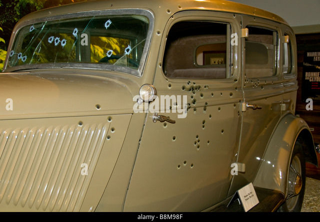 Buckhorn Saloon San Antonio Texas tx bullet holes Bonnie and Clyde car replica exhibit - Stock Image