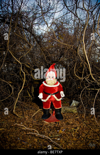 A 1960's era stuffed Santa Claus stands outdoors in a tangle of brush and overgrowth - Stock Image