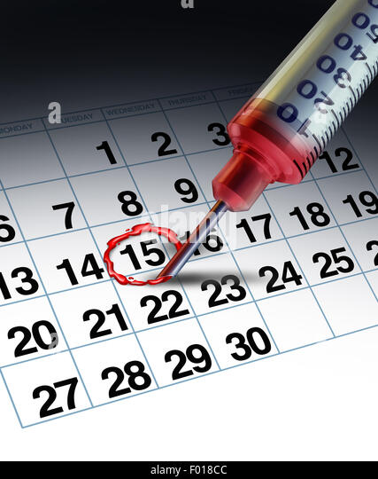 Medical apointment concept and doctor clinical date as a hospital syringe needle highlighting a day on a calendar - Stock-Bilder