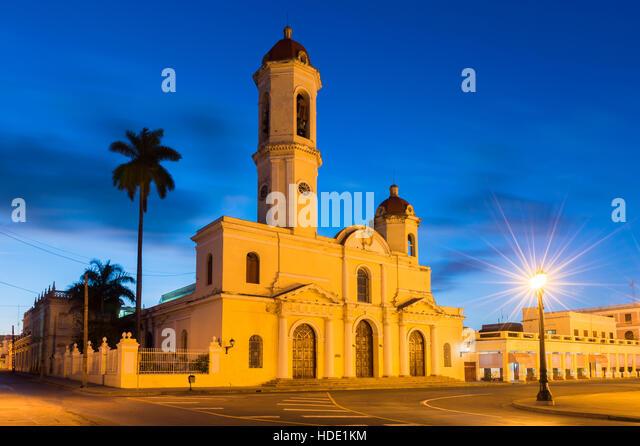 Catedral de la Purisima Concepcion at night, Cienfuegos, UNESCO World Heritage Site, Cuba, West Indies, Caribbean. - Stock Image