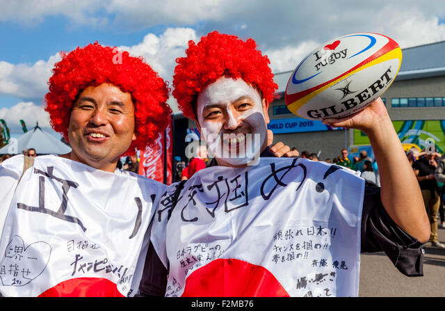 Japanese Rugby Fans Arrive To Watch Their Team Play South Africa In The Opening Match of The 2015 Rugby World Cup, - Stock-Bilder