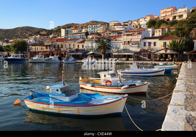 Harbour view, Pythagorion, Samos, Aegean Islands, Greece - Stock Image