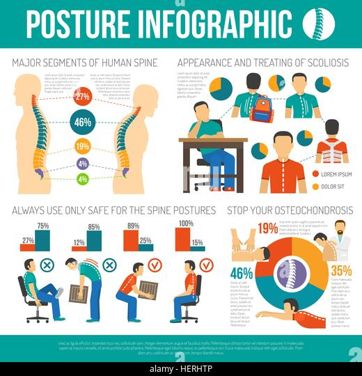 Posture Infographics Layout. Posture infographics layout with major segments of human spine information and appearance - Stock-Bilder