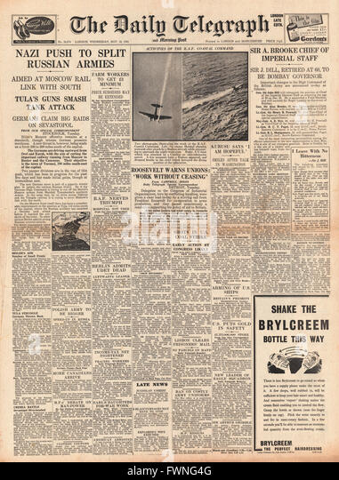 1941 front page Daily Telegraph Re-shuffle in high command of the British Army and Battle for Moscow - Stock Image