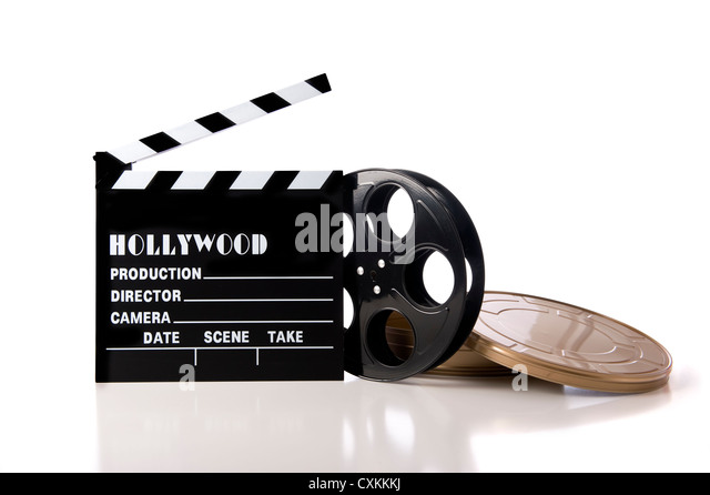 Hollywood movie items including a clapboard and a movie reel and tin on a white background - Stock-Bilder