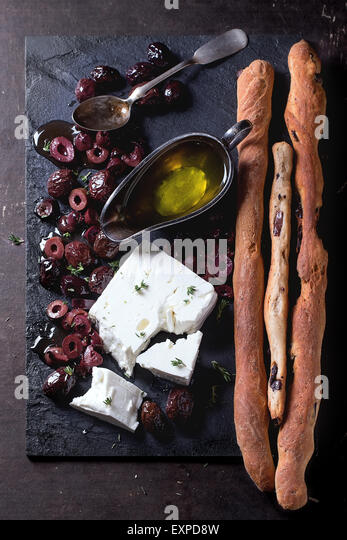 Black olives and feta cheese - Stock Image