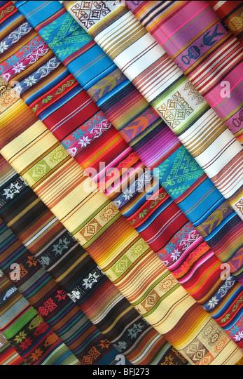 Fabric rolls in Ecuadar - Stock Image