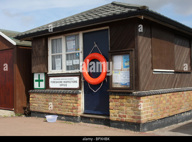 Southend Borough Council Foreshore Inspectors Office. - Stock Image