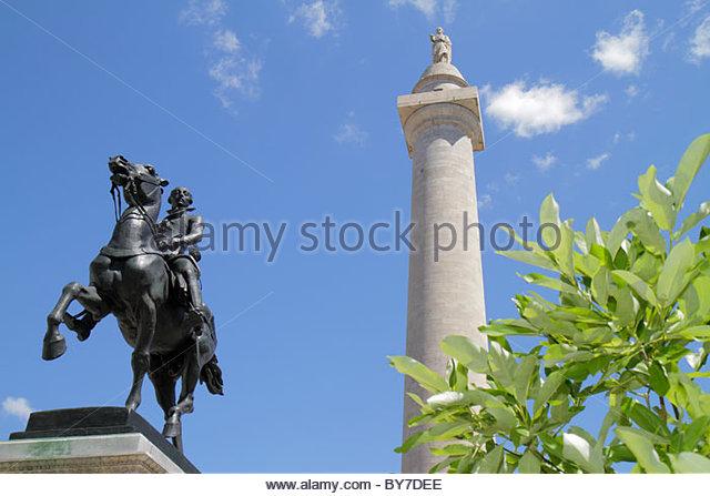 Maryland Baltimore Mount Mt. Vernon National Landmark Historic District Washington Place Washington Monument memorial - Stock Image