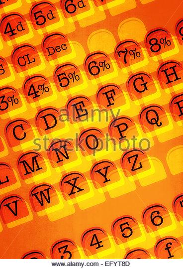 Retro shop till keys translucent angled - Stock Image