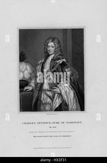 Portrait of Charles Seymour, 6th Duke of Somerset, 1748. From the New York Public Library. - Stock Image