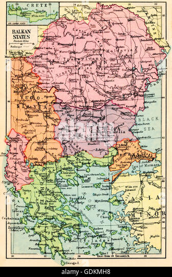 A 1930's map of  the Balkan States. - Stock Image