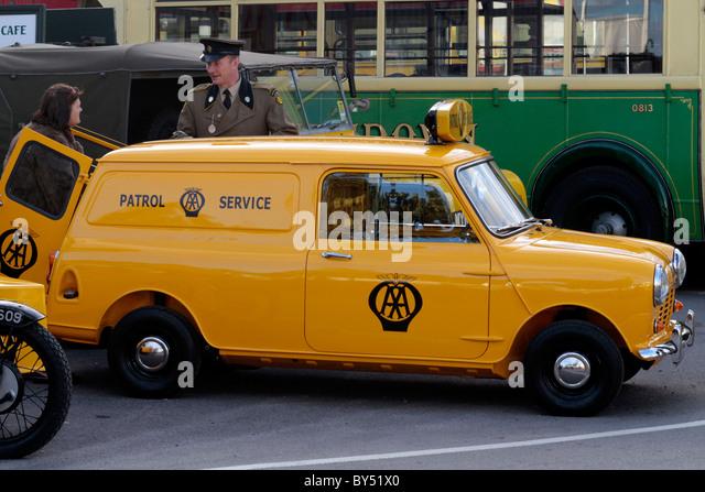 Yellow 1960's AA Patrol Service Mini Van - Stock Image