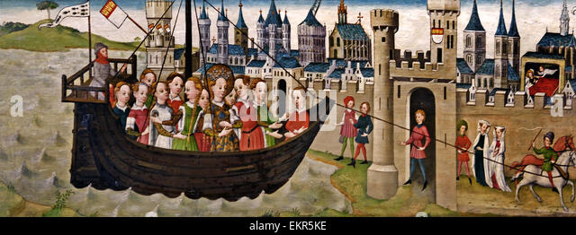 Cologne 1455 – 1460 Legend of St Ursula; Arrival in Cologne and St Ursula's dream German Germany - Stock Image