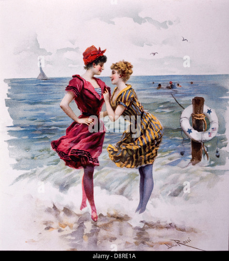 Two Women in Bathing Costumes at the Beach, Illustration by Julius Rossi, Truth Magazine, 1893 - Stock-Bilder