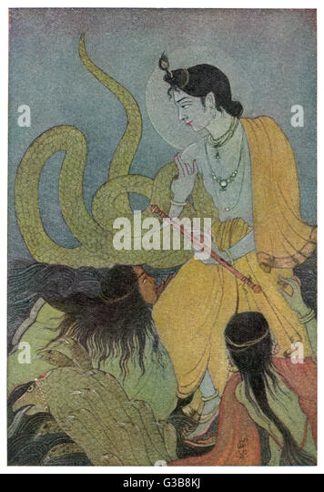 Krishna defeats the 5 headed  serpent Kaliya who had  poisoned the Yamuna river.  Kaliya's wives worship Krishna - Stock Image