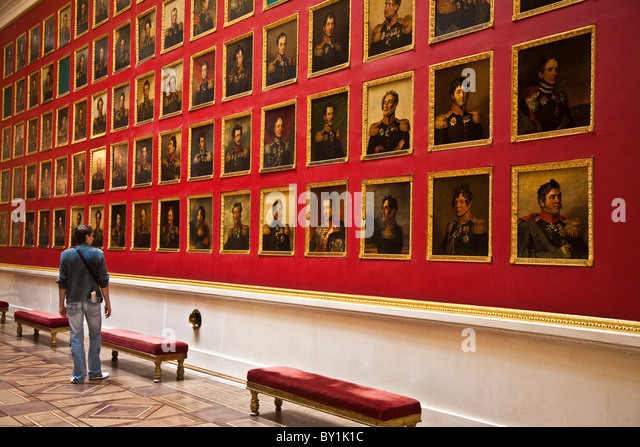 Russia, St Petersburg, Hermitage Museum.  The Gallery of the Patriotic War of 1812, built in 1826 by Carlo Rossi. - Stock Image