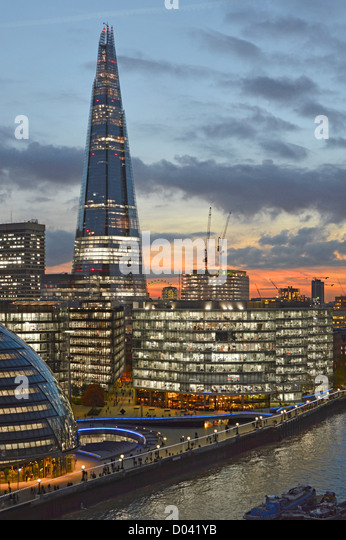 London skyline with (L to R) City Hall, More London, (middle foreground with The Scoop), Guys Hospital & The - Stock Image