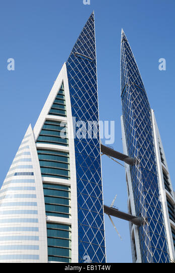 Manama, Bahrain - November 21, 2014: Bahrain World Trade Center facade - Stock Image