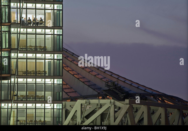 conference rooms at night, Bahntower, Potsdam Square, Potsdamer Platz, Sony Center roof, Berlin, Germany - Stock Image