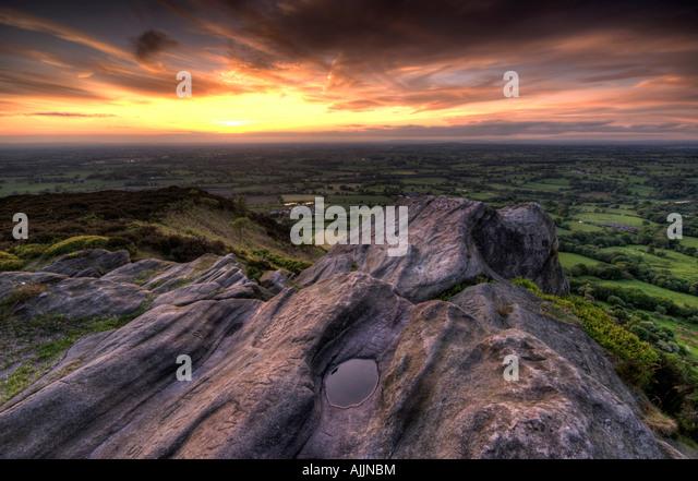 Sunsetting On Rocks At Cloudside Cheshire UK - Stock Image