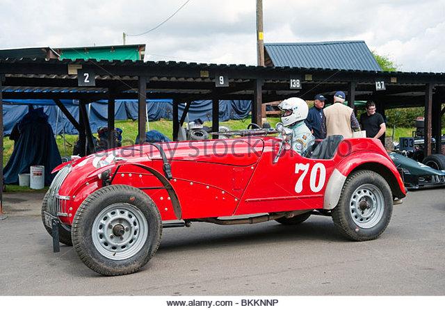 Allard J1 4500cc classic racing car at Shelsley Walsh Hill Climb, Worcestershire, UK. Paddock at motor sport event. - Stock Image