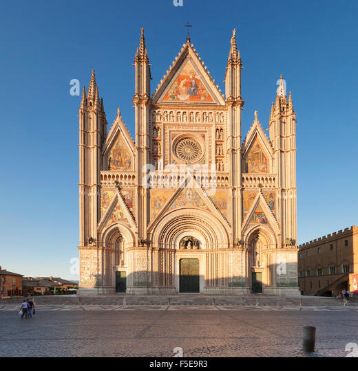 View of Santa Maria Cathedral, Orvieto, Terni District, Umbria, Italy, Europe - Stock Image