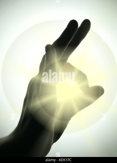 A OK symbol with sunlight streaming through - Stock Image
