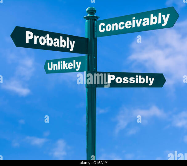 Options concept. Multiple direction signpost showing various options against a blue sky. - Stock Image