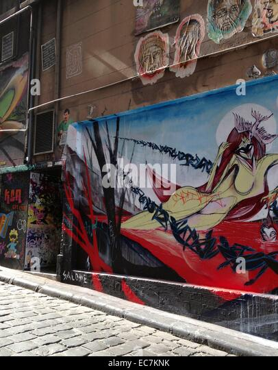 Melbourne, graffiti in a side street near federation Square, Melbourne - Stock-Bilder