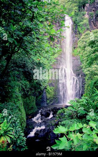 wailua falls,maui - Stock Image