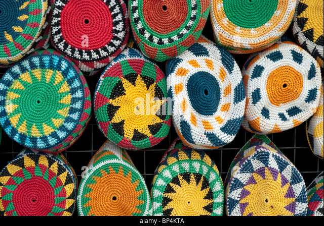 Colorful prayer caps for sale in the Dahar Quarter, Hurghada, Red Sea, Egypt - Stock Image