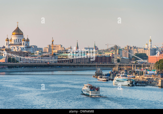 View over Moscow and the Moskva River (Moscow River) at sunset, Russia, Europe - Stock Image