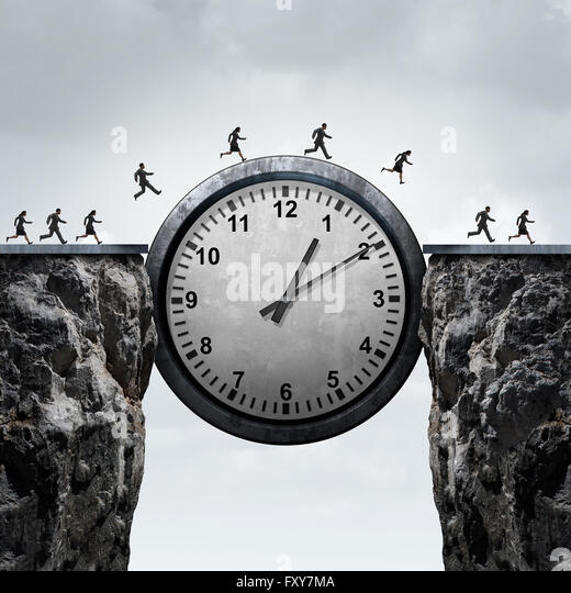 Business time concept as a group of running businessmen and businesswomen using a giant clock to cross over a cliff - Stock-Bilder