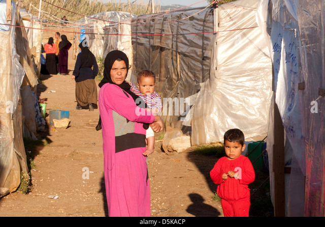 Syrian Refugees at El Minie, Northern Lebanon - Stock Image