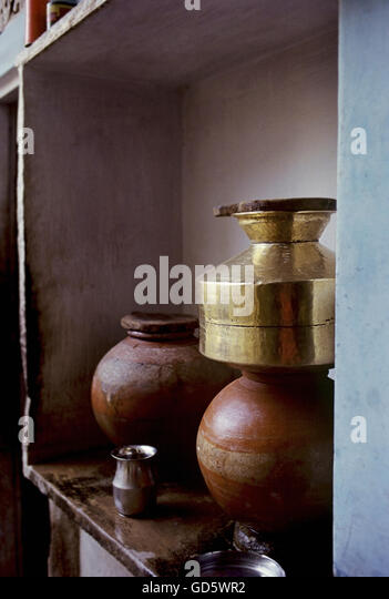 Brass and earthen pots - Stock Image
