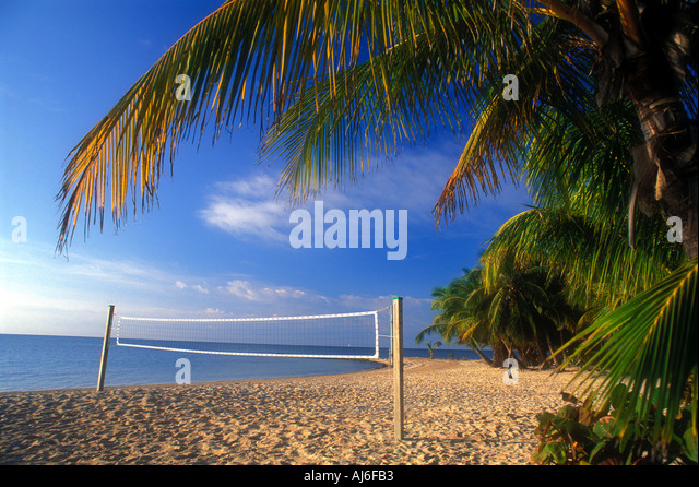 Tropical beach volleyball court on the island of Key West in Florida USA - Stock Image