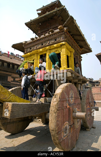 Traditional Nepali New Year chariot.Taumadhi Tole.Bhaktapur.Nepal - Stock Image