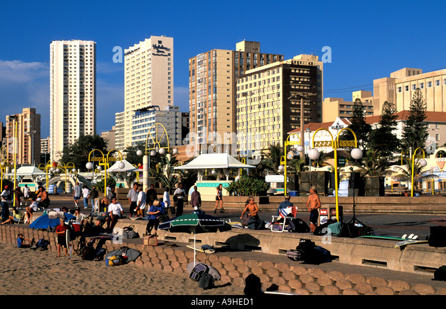 South Africa Durban Beach Overview at The Golden Mile - Stock Image