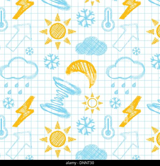 Weather hand drawn seamless pattern. Vectror illustration - Stock Image