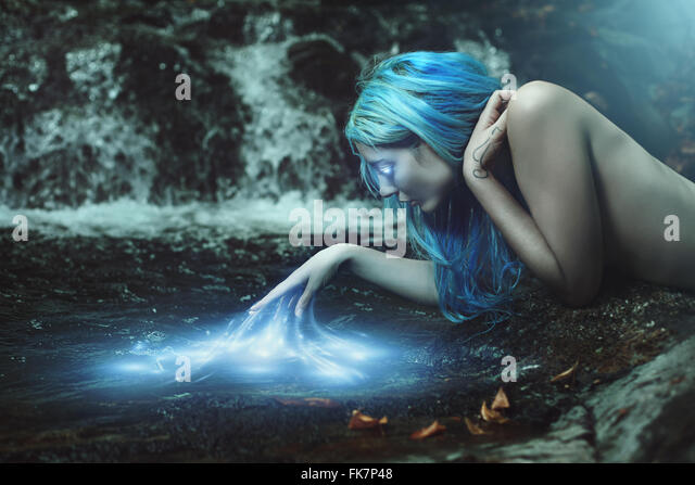 River nymph with magical water energies . Fantasy and myth - Stock-Bilder