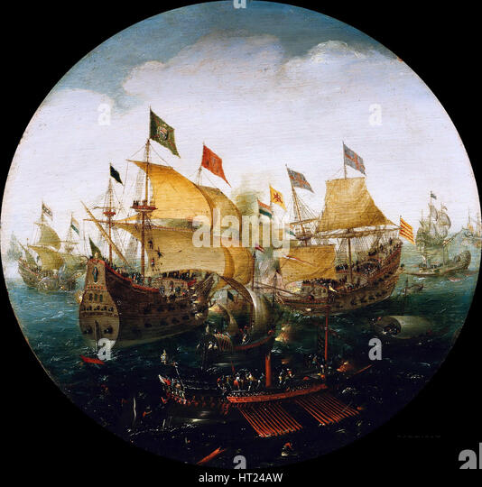 Sea battle between the Dutch and Spanish ships, 1604. Artist: Aert Anthonisz., (Aert van Antum) (ca. 1580-1620) - Stock Image