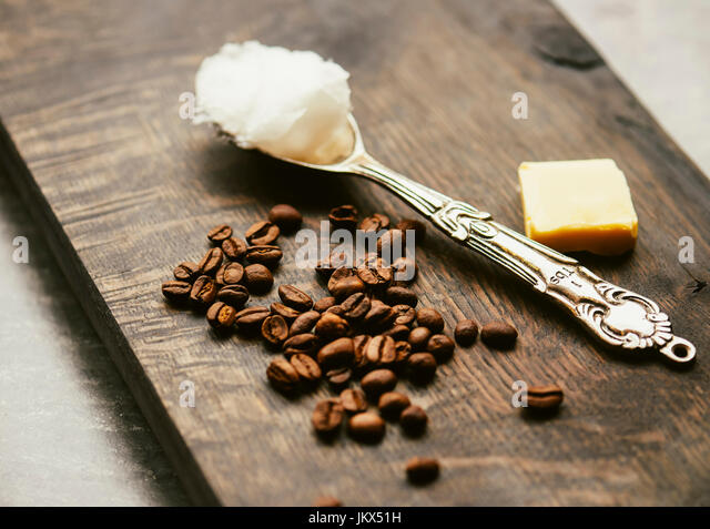 coffee beans, butter, coconut oil - Stock Image