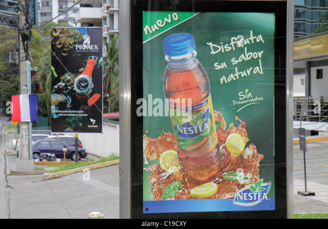 Panama City Panama Marbella American product import global corporation sign banner advertising marketing Nestea - Stock Image