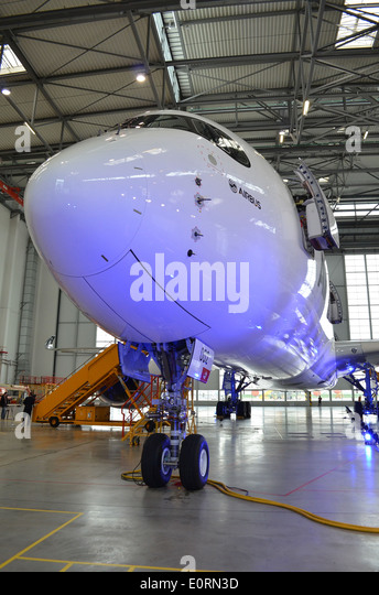 Nose of an Airbus A350XWB at the Airbus headquarters in Finkenwerder, Hamburg, Germany - Stock Image