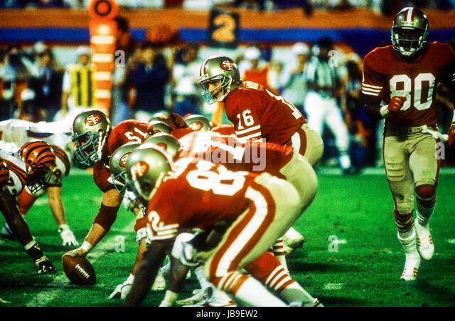 Joe Montana San Francisco 49ers quarterback and Jerry Rice #80 at the 1989 Super Bowl - Stock-Bilder