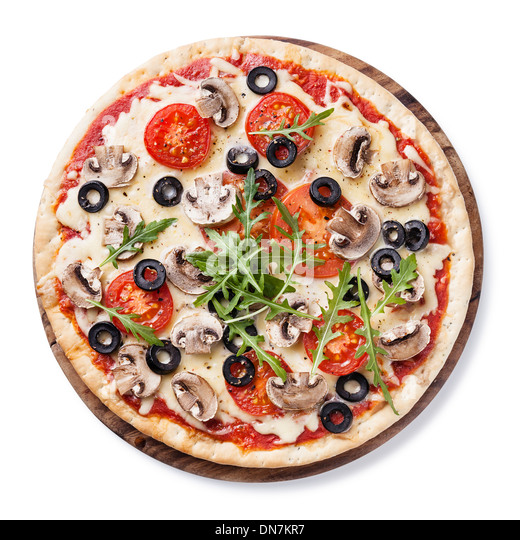 Pizza with mushrooms and ruccola on white background - Stock Image