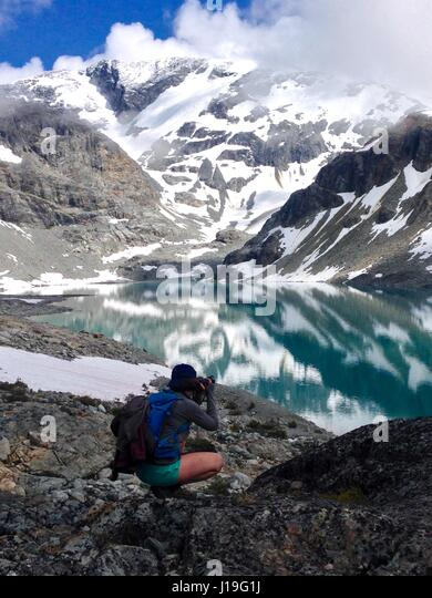 Wedgemount glacier lake, only reached by doing a 7km hike. In Whistler BC Canada - Stock Image